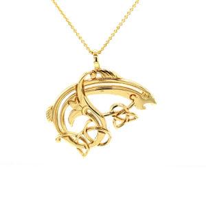 Small Salmon Pendant Gold
