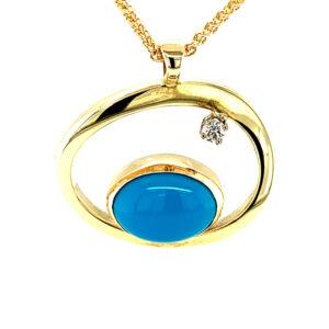 Turquoise and Diamond Pendant
