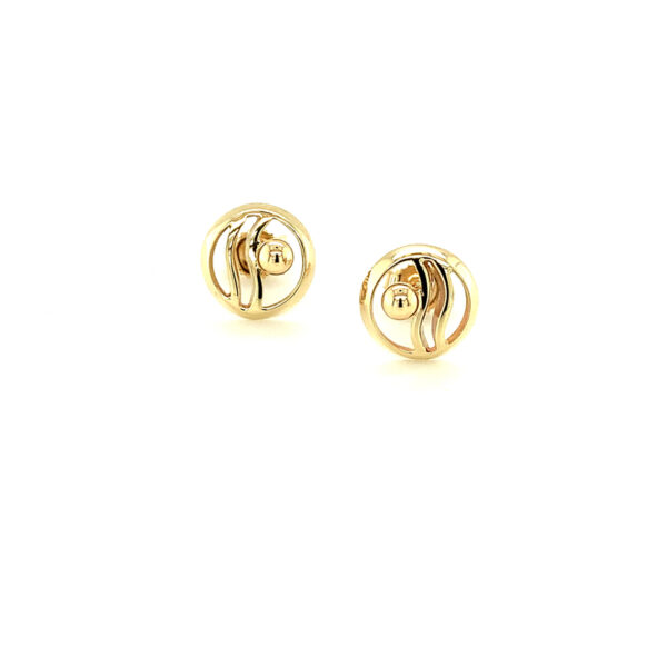 Wave in Circle Earrings Gold